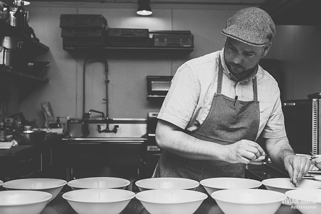 Chef Molyneux in action, plating dishes